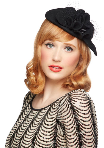Posh the Limit Hat - Black, Solid, Flower, Formal, Cocktail, Holiday Party, Film Noir, Vintage Inspired, 20s, 30s, Best, Beads, 40s