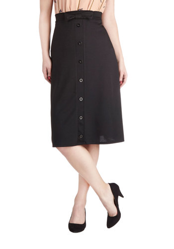 Sway the Course Skirt - Black, Solid, Bows, Buttons, Good, Long, Knit, Work, Midi, Black
