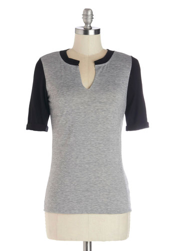 Playoff Party Top - Knit, Mid-length, Grey, Black, Colorblocking, Short Sleeves, Grey, Short Sleeve