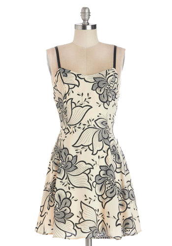 Liz Flair Dress - Short, Woven, Black, Floral, Casual, A-line, Spaghetti Straps, Good, Sweetheart, Cream