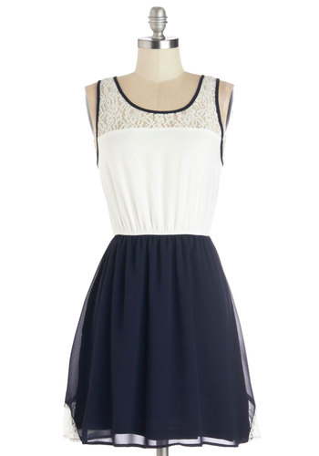 Whirled of Difference Dress - Mid-length, Sheer, Woven, Blue, White, Lace, Casual, A-line, Tank top (2 thick straps), Good, Scoop