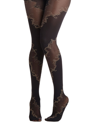 Lavishly Vining Tights - Knit, Sheer, Black, Boudoir, Better, Print, Film Noir