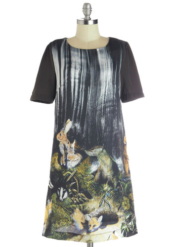 Critter-cal Thinking Dress by Louche - Mid-length, Chiffon, Woven, Black, Multi, Print with Animals, Casual, Shift, Short Sleeves, Better, International Designer, Scoop, Exposed zipper, Quirky