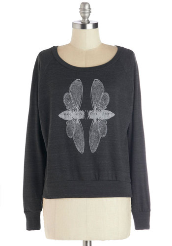 Cicada Serenity Sweatshirt by Supermaggie - Jersey, Knit, Short, Print with Animals, Casual, Sweatshirt, Long Sleeve, Better, Grey, White, Scoop, Grey, Long Sleeve