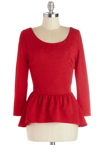Hostess Toast Top in Red - Mid-length, Knit, Red, Solid, Work, Peplum, Long Sleeve, Good, Scoop, Red, Long Sleeve, Holiday Party, Valentine's