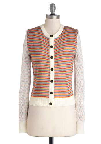 Me and Utopia Cardigan by Tulle Clothing - Multi, Yellow, Blue, Pink, White, Stripes, Buttons, Casual, Long Sleeve, Knit, Short, Crew, Multi, Long Sleeve