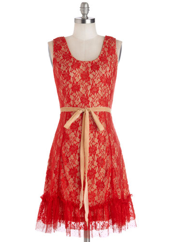 Dancing with the Starlet Dress - Mid-length, Woven, Red, Tan / Cream, Ruffles, Belted, Party, A-line, Tank top (2 thick straps), Better, Scoop, Vintage Inspired, 20s