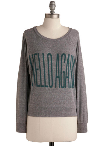 Remarkable Top by MNKR - Grey, Green, Novelty Print, Casual, Long Sleeve, Short, Grey, Long Sleeve