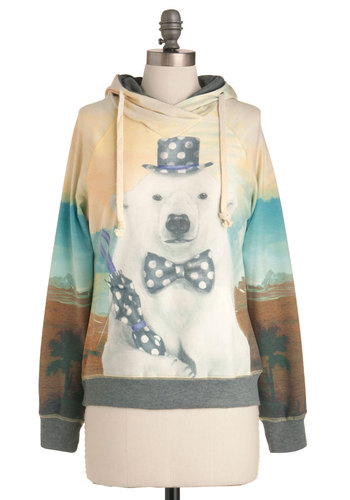 Reverse Polarity Sweatshirt - Casual, Multi, Blue, Brown, Tan / Cream, White, Print with Animals, Vintage Inspired, Long Sleeve, Hoodie, Mid-length, Sweatshirt, Multi, Long Sleeve