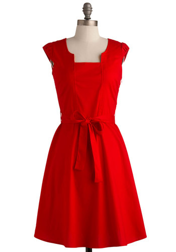 Ignite the Night Dress - Red, Solid, Pleats, Party, A-line, Cap Sleeves, Vintage Inspired, Rockabilly, Pinup, Mid-length, Press Placement, Belted, Holiday Party, Best Seller, Fit & Flare, Valentine's, Americana, WPI