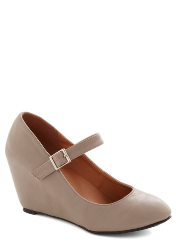 A Simple Smile Wedge in Taupe - Tan, Solid, Work, Good, Wedge, Mary Jane, Mid, Faux Leather, Minimal, Variation, Gifts Sale