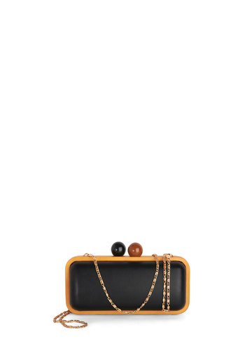 Trendsetting Globetrotter Clutch by Melie Bianco - Black, Tan / Cream, Solid, Trim, 30s, 40s, Good, Vintage Inspired, Colorblocking, Faux Leather, Girls Night Out, Holiday Party