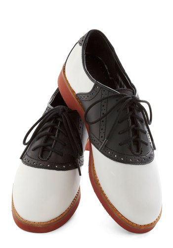 Quickstep to It Flat by Bass - White, Menswear Inspired, Colorblocking, Leather, Lace Up, Low, Solid, Scholastic/Collegiate, Better, Black, Rockabilly, Vintage Inspired, 50s