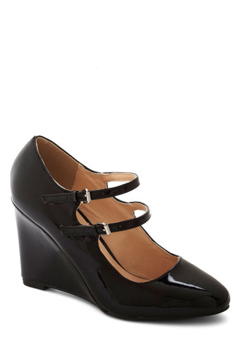 Got It Down Patent Wedge in Black - High, Faux Leather, Black, Wedge, Mary Jane, Good, Solid, Work, Variation