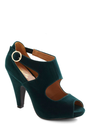 Utmost Elegance Heel - High, Green, Holiday Party, Peep Toe, Solid, Good, Party, Faux Leather