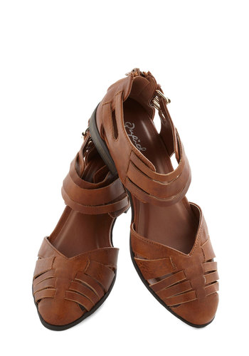 Play It Straightforward Flat - Faux Leather, Brown, Buckles, Casual, Flat, Good