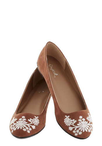 Petal Down the Lane Flat in Chestnut - Tan, White, Boho, Flat, Good, Embroidery, Casual, Variation, Folk Art, 70s