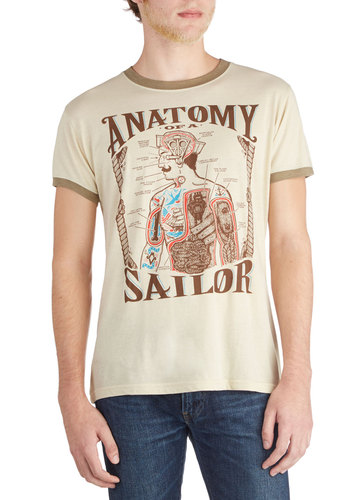 Seafaring Expertise Men's Tee - Mid-length, Jersey, Knit, Cream, Brown, Novelty Print, Casual, Short Sleeves, Good, Crew, Nautical