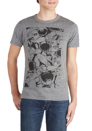 Defying Gravi-Tee – Men's - Mid-length, Knit, Grey, Black, Novelty Print, Sci-fi, Short Sleeves, Good, Crew, Jersey