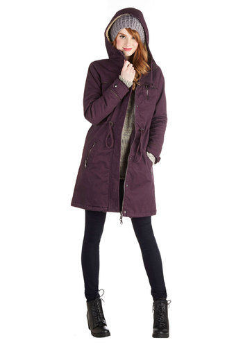 Again and Michigan Coat - Long, Cotton, Faux Leather, Faux Fur, Woven, 5, Purple, Solid, Pockets, Casual, Long Sleeve, Winter, Fall