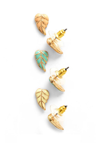 Lovely in Leaves Earring Set - Orange, Yellow, Mint, Solid, Gold