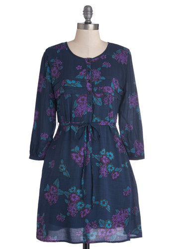 Planning Simple Dress by Tulle Clothing - Short, Woven, Blue, Purple, Floral, Buttons, Pockets, Belted, A-line, Long Sleeve, Better, Scoop