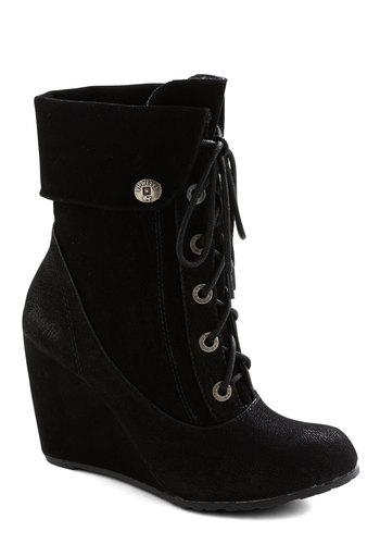 Dimension in Detail Boot - Black, Solid, Steampunk, High, Wedge, Lace Up, Better, Faux Leather