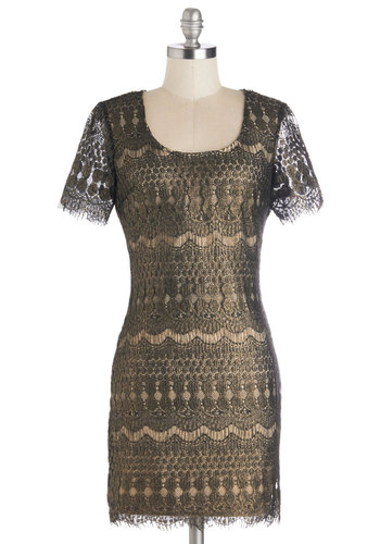 Paragon of Opulence Dress - Short, Woven, Gold, Lace, Party, Sheath / Shift, Short Sleeves, Better, Scoop, Black, Cocktail, Holiday Party, Vintage Inspired, 20s, Sheer