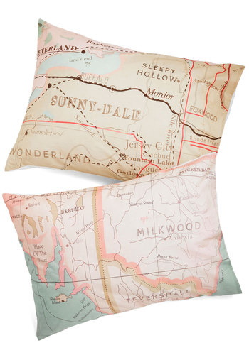 Map Your Dreams Pillowsham Set - Cotton, Multi, Travel, Better, Novelty Print, Exclusives