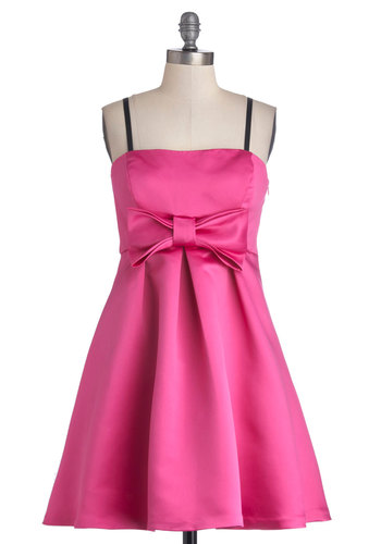 Betsey Johnson Goes to Showcase Dress by Betsey Johnson - Pink, Solid, Bows, Prom, Party, Fit & Flare, Strapless, Better, Wedding, Bridesmaid, Woven, Mid-length, Satin