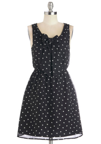Can't Be Beat Dress - Mid-length, Woven, Black, White, Print, Bows, Casual, A-line, Tank top (2 thick straps), Better, Scoop, Valentine's