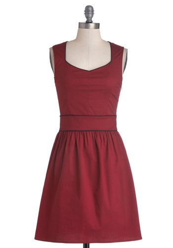 You Win, You Rouge Dress - Red, Solid, Casual, A-line, Sleeveless, Good, Sweetheart, Woven, Mid-length, Trim, Valentine's