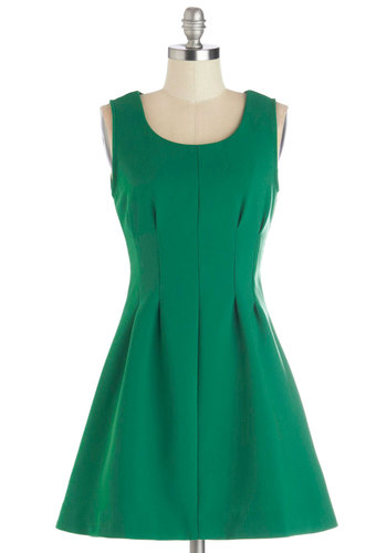 Profession You Love Dress - Short, Woven, Green, Solid, Exposed zipper, Party, A-line, Tank top (2 thick straps), Good, Scoop, Work