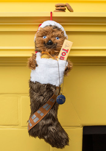 Wookiee What You Got Stocking - Brown, 70s, Dorm Decor, Quirky, Sci-fi, Good, White, Print with Animals, Holiday
