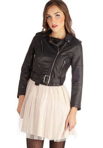 Guitar Repertoire Jacket - Faux Leather, 2, Black, Solid, Epaulets, Exposed zipper, Pockets, Urban, Cropped, Long Sleeve, Black, Short