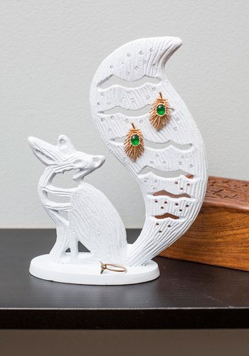 Clever Keepsake Jewelry Holder - White, Dorm Decor, Good, Print with Animals, Folk Art
