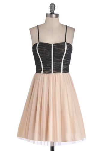 Play Fair-y Dress in Midnight - Short, Woven, Pink, Black, Ruching, A-line, Spaghetti Straps, Good, Sweetheart, Party