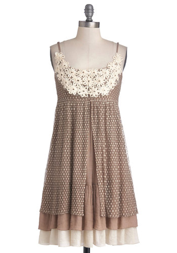 Coffee Cake Break Dress - Mid-length, Woven, Brown, Tan / Cream, Polka Dots, Crochet, Casual, Empire, Spaghetti Straps, Better, Scoop