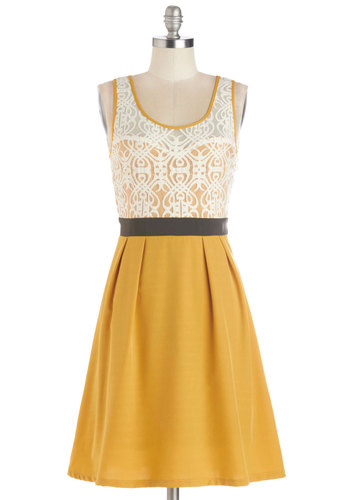 Fanciful Forsythia Dress - Mid-length, Sheer, Knit, Yellow, Black, White, Lace, Pleats, Party, A-line, Tank top (2 thick straps), Better, Scoop