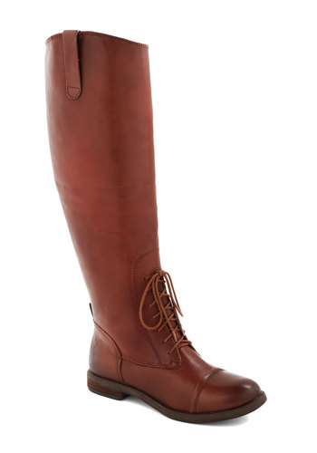 Equestrian and Answer Boot in Brown by Lucky - Low, Leather, Brown, Solid, Best, Lace Up, Fall, Variation