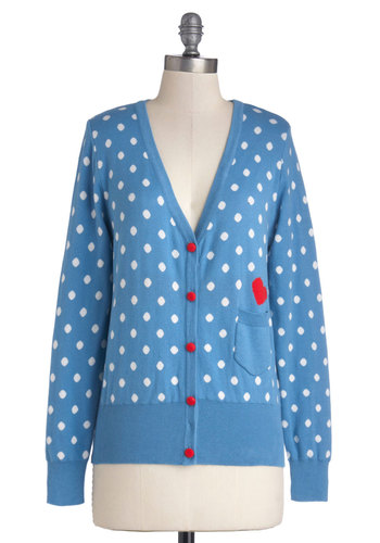 Terms of Endearing Cardigan - Blue, Red, White, Polka Dots, Buttons, Pockets, Long Sleeve, Better, Cotton, Knit, Mid-length, Blue, Long Sleeve, Valentine's