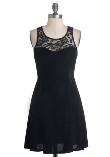 Cheers to Velvet Dress - Sheer, Short, Black, Solid, Lace, Party, A-line, Tank top (2 thick straps), Good, Scoop, Winter, Holiday Party, LBD