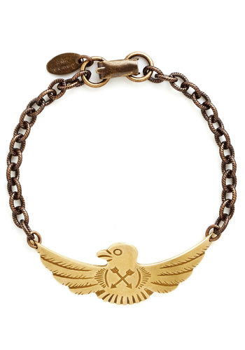 National Treasured Bracelet by Ornamental Things - Print with Animals, Gold, Better, Military