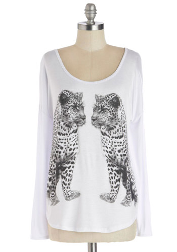 Paw de Deux Tee - Mid-length, Jersey, Knit, White, Black, Print with Animals, Casual, Long Sleeve, Better, White, Long Sleeve