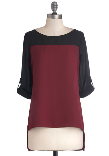 Sheer for the Party Top - Chiffon, Woven, Mid-length, Red, Black, Work, Long Sleeve, Good, Solid, Casual, Colorblocking, Red, Tab Sleeve