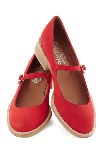 Amuse-mint Park Flat in Peppermint Red by Jeffrey Campbell - Red, Solid, Low, Best, Mary Jane, Leather, Suede, Scholastic/Collegiate, Variation