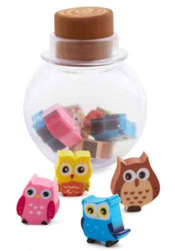 Owl New Ideas Eraser Set by Kikkerland - Multi, Owls, Kawaii, Good, Print with Animals, Under $20