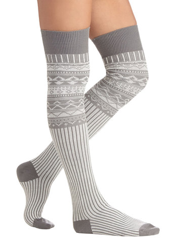 Chalet around the House Socks - Knit, Grey, White, Print, Fall, Winter, Good, Holiday