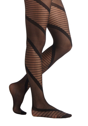 Ladder Up Tights - Sheer, Knit, Black, Stripes, Better