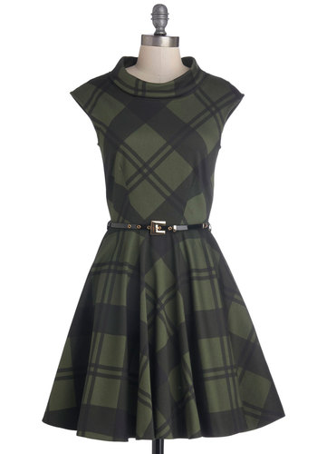 Mighty Mighty Moss Tones Dress - Mid-length, Cotton, Woven, Green, Plaid, Casual, Scholastic/Collegiate, A-line, Sleeveless, Better, Pockets, Belted, Winter